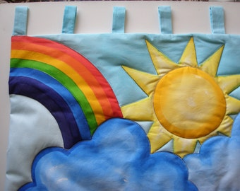 Headboard bed, cot, hand-painted cotton, gift for baby
