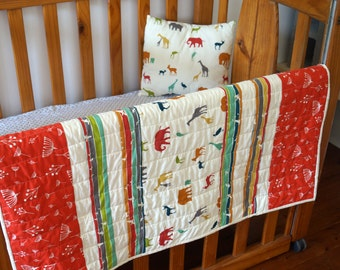 Safari Animals with Red or Green Twig Panel Quilt