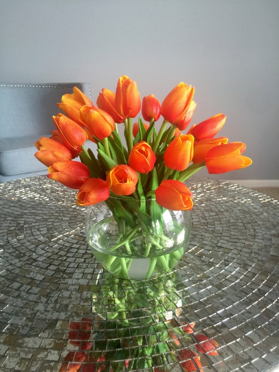 Orange Tulip Arrangement Tulip Floral Centerpiece By Flaural