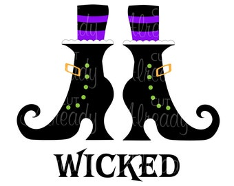 witch boots SVG and PNG, Halloween witch boot svg and Jpeg, cut file Silhouette and Cricut - Instant Download