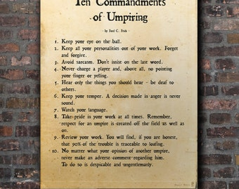 The Ten Commandments or Umpiring