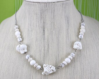 White Howlite Bead Necklace