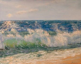 Wavy beach art, seascape, ocean, original oil painting of the sea signed by artist, marine art FREE US SHIPPING