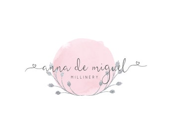 Custom Logo Design, Premade Calligraphy Logo, Silver Wreath Photography Logo, Pink Logo Editable Logo Design, Silver Laurel Calligraphy Logo