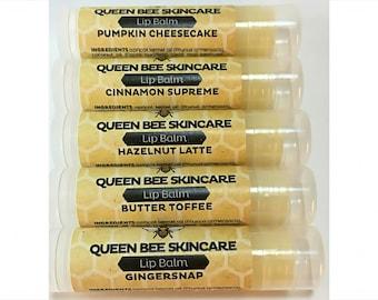 Lip Balm - FALL SCENTS - Pumpkin Cheesecake Cinnamon Hazelnut Latte Butter Toffee Gingersnap -  Lip Embellishment Lip Butter Tube