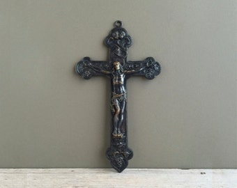 Antique Gorhom Crucifix, Metal Cross, 1920s, Gothic Decor, Religious