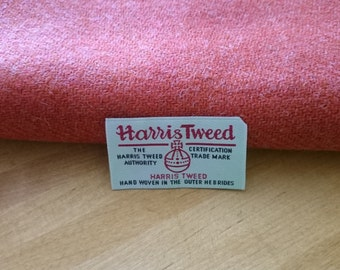 Harris Tweed Cloth Fabric Rich Orange Luxury Handwoven 100% Pure Virgin Wool handwoven in Outer Hebrides Scotland