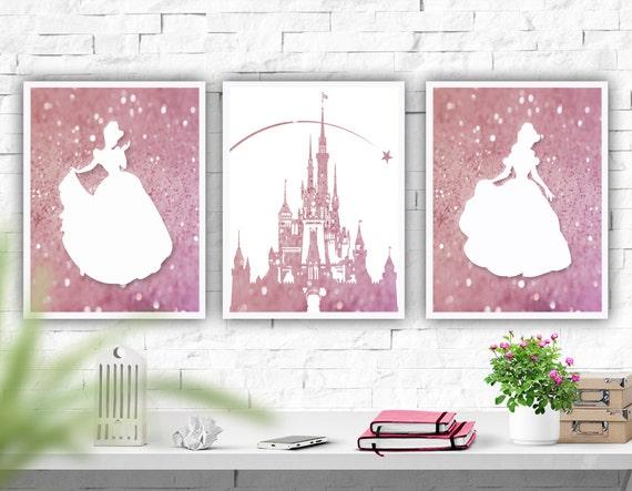 Disney Nursery Wall Decor : Printable art disney castle nursery wall set of prints