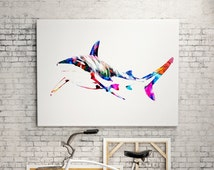 White shark Watercolor animal print  - abstract poster - illustration -Digital wall art Print - painting - Home decor