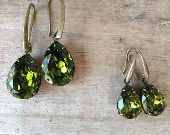 Swarovski tear drop earrings, Olivine Green