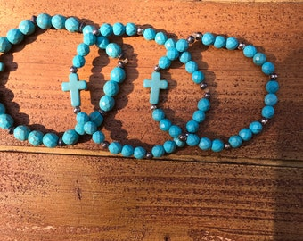 Inspirational bracelets. Silver beads, turquoise beads and cross
