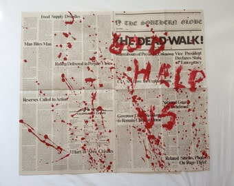 George A. Romero's DAY of the DEAD The Dead Walk! Newspaper Prop Replica BLOOD Splattered Version 8