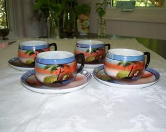 Lustreware Teacups Japan Vintage
