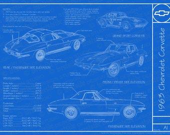 Corvette blueprint etsy 1963 chevrolet corvette blueprint poster 18x24 jpeg image malvernweather Images