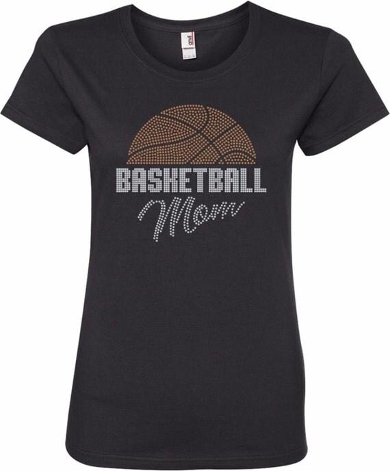 "WOMENS ""BASKETBALL MOM WITH BALL"" RHINESTONE BLING LADIES SHIRT"
