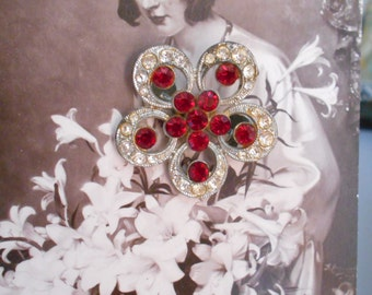 1930's Art Deco Pot Metal Pin/Brooch with Clear and Red Rhinestones
