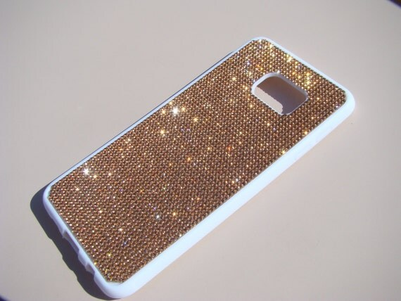 "Galaxy S6 ""Edge Plus"" Rose Gold Diamond Crystals on White Rubber Case. Velvet/Silk Pouch Bag Included, Genuine Rangsee Crystal Cases."
