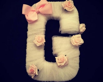 Tulle Wrapped Letter Decoration with Bow