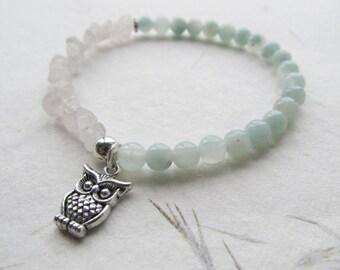 Amazonite bracelet, rose quartz bracelet, owl bracelet