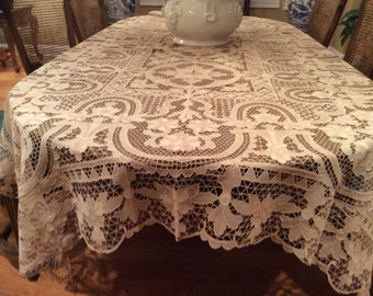 "Vintage table cloth hand made Italian Venetian lace ecru Point de Venice needle lace Rectangular 116 3/4"" x 66"" and Napkins Vintage wedding"