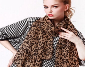 Almost free! Sheer leopard print scarf.