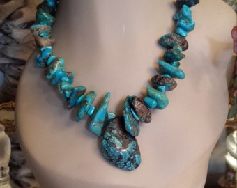 Natural turquoise native American style necklace