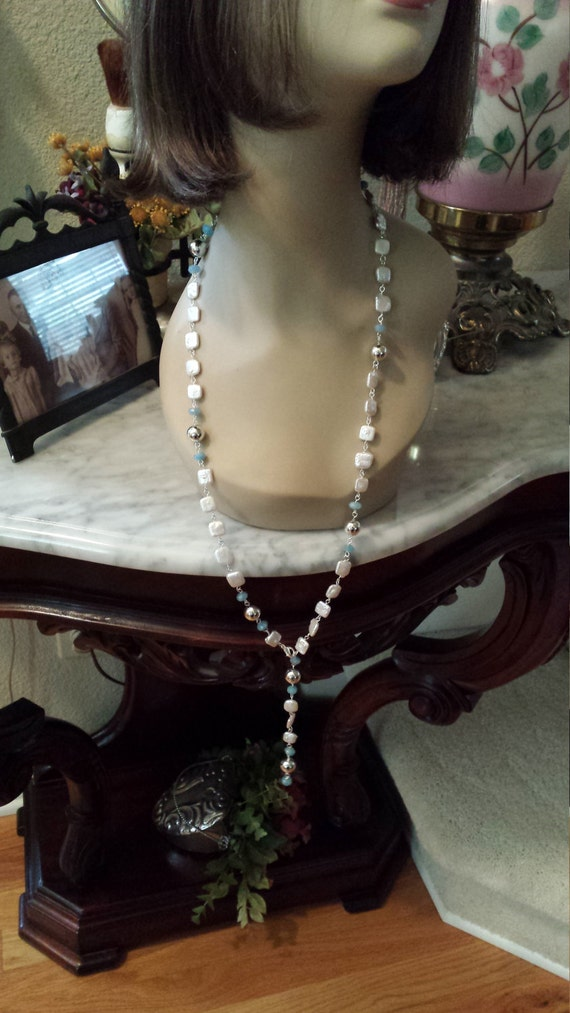 One strand long adjustable freshwater pearl and Aquamarine necklace