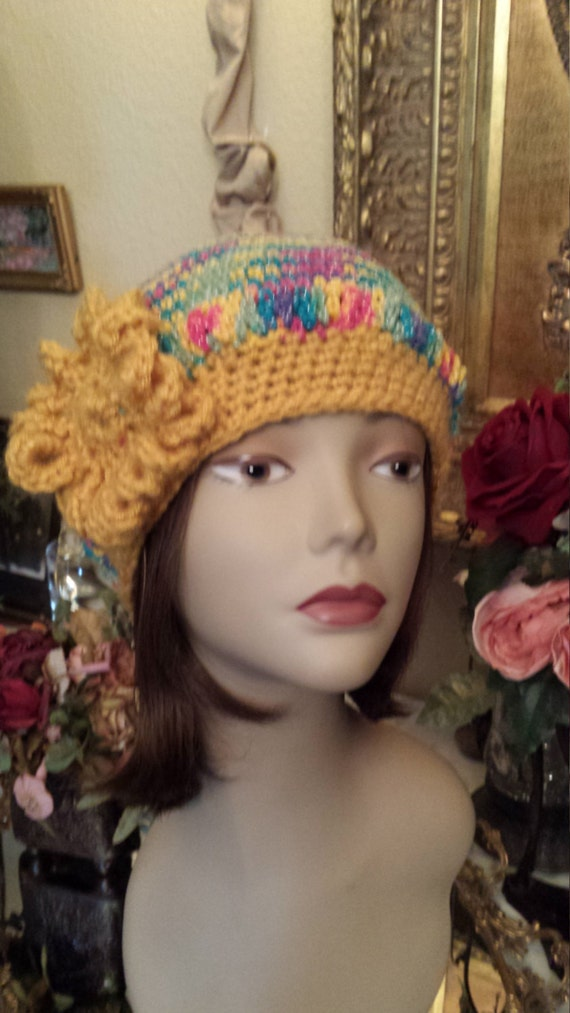 Winter crochet floppy hat with flower made and designed by petronella