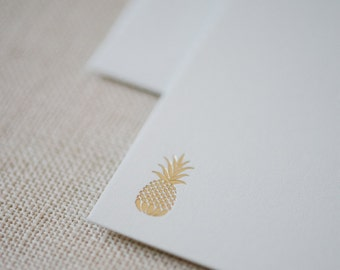 Pineapple Note Cards in Gold Foil / Vintage Letterpress Foil Pineapple Card w/ Matching Pineapple on the Envelope Flaps / Set of 10