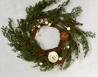 Pine and Snowman Candle Ring-Christmas Decor-Winter Candle Ring-Primitive Candle Ring-Christmas Centerpiece-Winter Centerpiece-Free Shipping