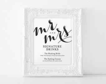 Signature Drink Sign, Signature Drinks Printable, Wedding Reception Sign, Wedding Bar Sign, Bar Menu, PDF Instant Download #BPB133_36