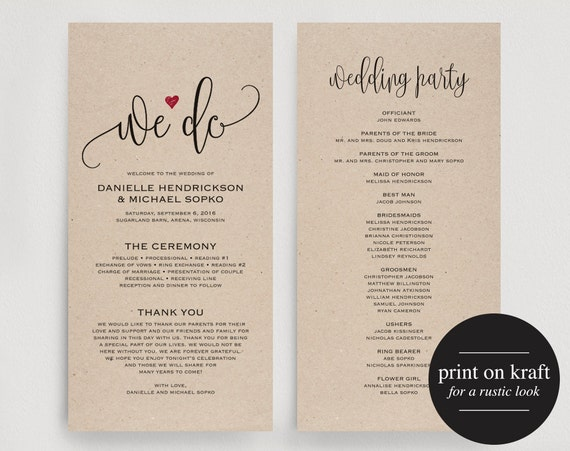 wedding program editable template we do by blisspaperboutique