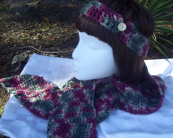 Green, Cream and Wine Red Headband & Scarf Set - Youth