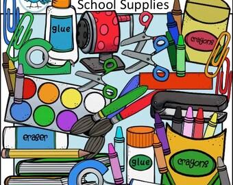 School Supplies Clip Art Set - Chirp Graphics