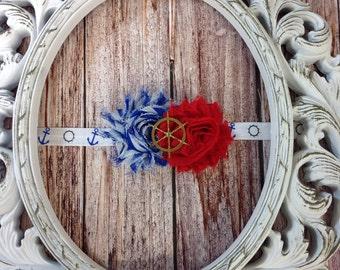 Nautical Ships Wheel Shabby Flower Headband
