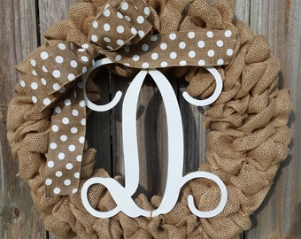 Monogram Wreath, Front Door Wreath, Housewarming Gift, Door Wreath, Initial Wreath, Year Round Wreath, Monogram Door Decor, Burlap Wreath