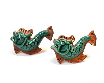 Vintage copper ceramic fish dolphin porpoise scatter brooch pins greenish blue color