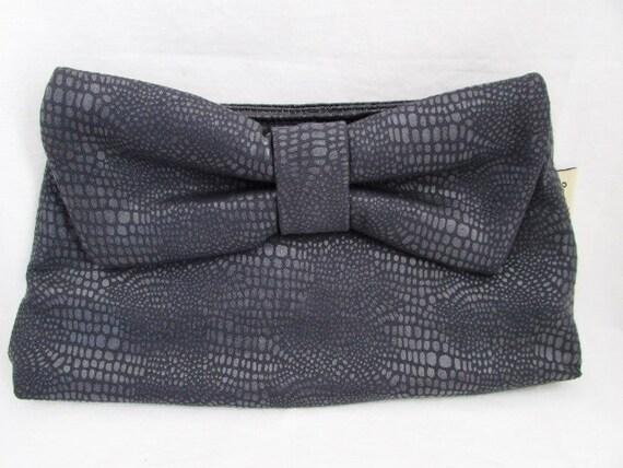 Steel Grey Bowtie Pleather Clutch