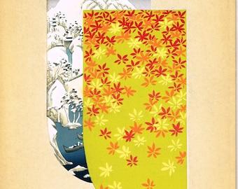 Japanese antique woodblock print, Kimono Design, Kano Shuho, Hiroshige-gonomi.