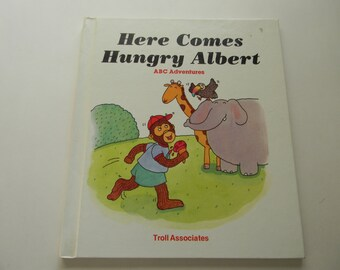 Vintage Children's Book, Here Comes Hungry Albert Book, alphabet book, story book, hardcover book