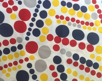 Vintage 1970s Primary Circles Printed Fabric by Klopman Mills