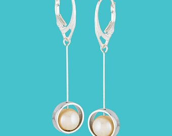 Sterling Silver Framed Pearl Drop Earrings