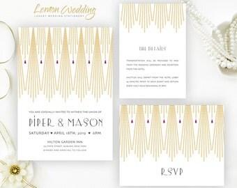 Gatsby wedding Invitation kit printed    Gold and purple wedding invitations   Art deco wedding invites
