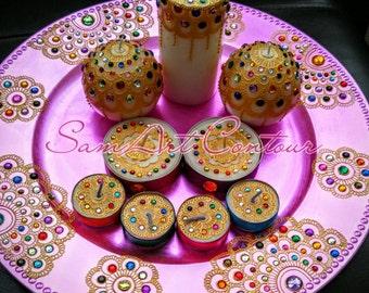 Mehndi Decor - Mehndi thaal, Henna plate Handpainted Multicolor Set