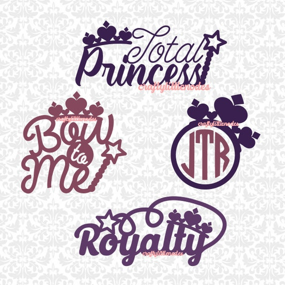Total Princess Royalty Bow To Me Tiara Monogram SVG STUDIO Ai EPS Scalable Vector Instant Download Commercial Use Cricut Silhouette