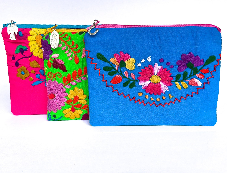 Small Zipper Pouch Embroidered Mexican Dress Zipper Pouch