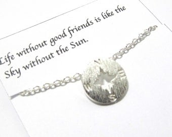 Silver Compass Necklace, B1 Compass Necklace, Compass Necklace, Friendship Compass Necklace, Best Friend Necklace Gift For Friends