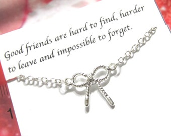 Silver Best Friend Necklace, Best Friend Gift |A5| Bow Tie Necklace, Knotted Ribbon Necklace, Friendship Necklace, Birthday Gift For Friend