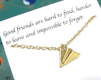 Tiny Gold Paper Airplane Necklace, Aircraft Necklace, Origami Necklace |A5| Friendship necklace, Best Friend Necklace, Dainty Necklace