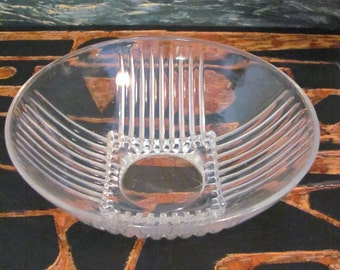 Deco Modern Cut Glass Bowl With Square Base